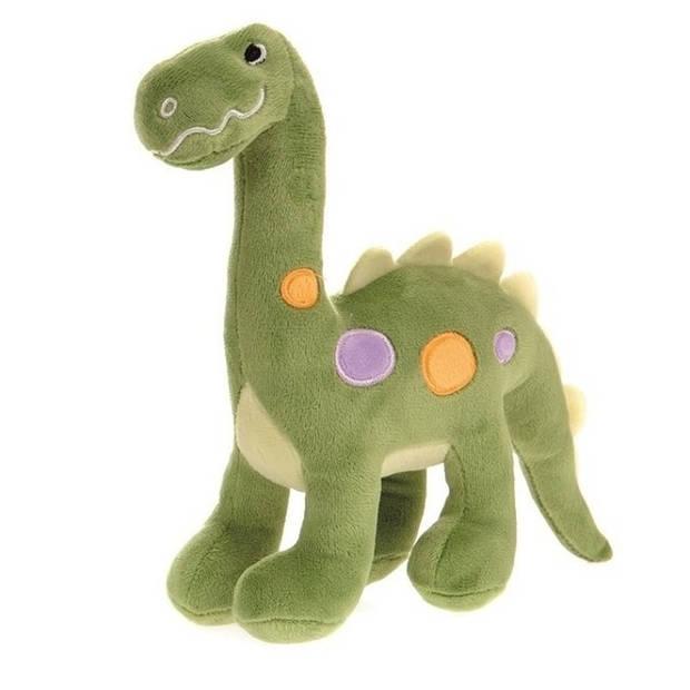 Pluche groene dinosaurus knuffel 22 cm - Dino knuffels - Speelgoed voor baby/kinderen