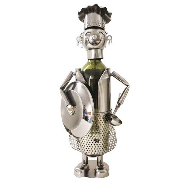 Flessenhouder kok - 16*12*28 cm - zilverkleurig - ijzer - kok - Clayre & Eef - 6Y3782