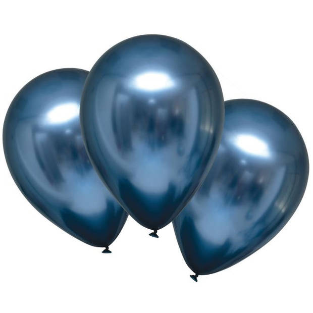 Amscan ballonnen metallic 27,5 cm latex blauw 6 stuks