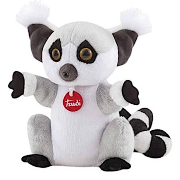 Trudi handpop Wasbeer 24 cm pluche grijs/wit