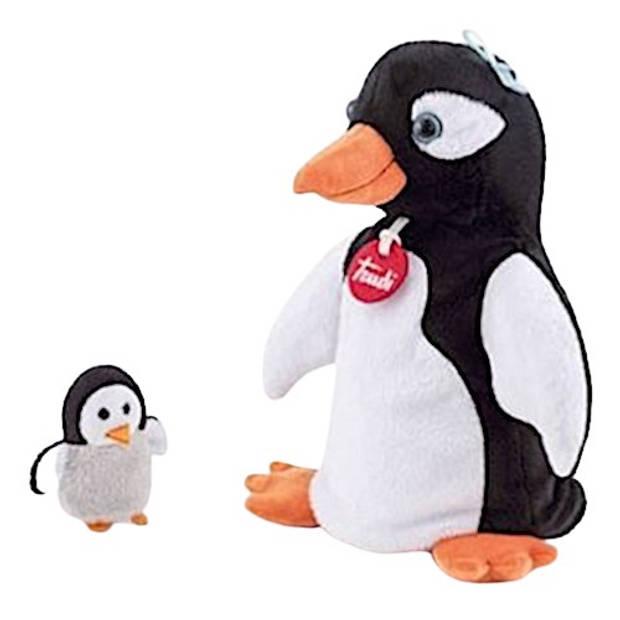 Trudi handpop Pinguin 24 cm pluche zwart/wit