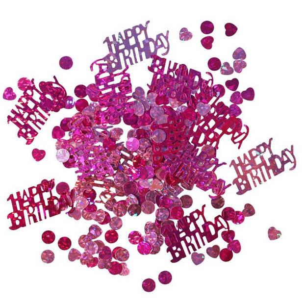 Amscan confetti Happy Birthday meisjes folie roze 15 gram