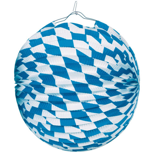Amscan lampion Bavaria 25 cm papier/staal blauw/wit