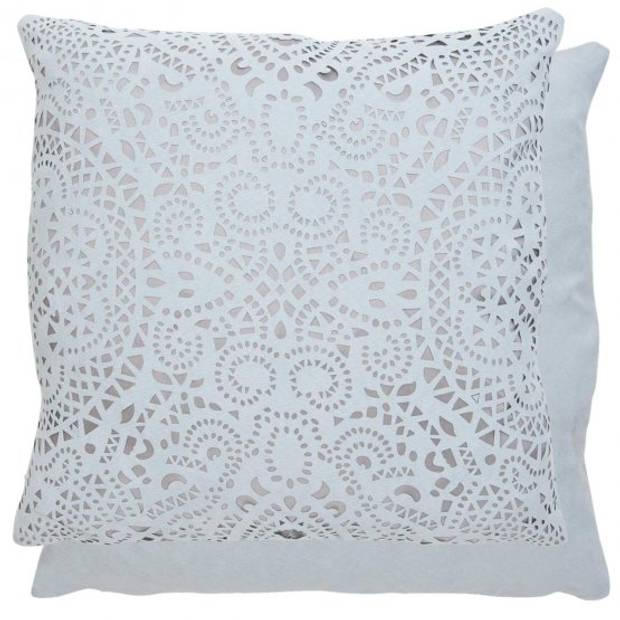 Clayre & Eef - kussenhoes - 45*45 cm - grijs - polyester - vierkant - krullen - KT021.105G