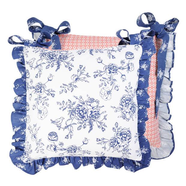 Clayre & Eef - kussenhoes - 40*40 cm - blauw - 100% katoen - vierkant - bloemen - MMRG26