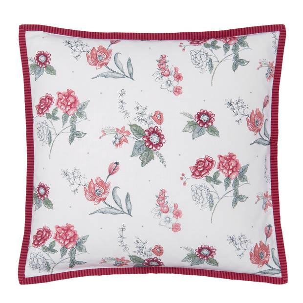 Clayre & Eef - kussenhoes - 40*40 cm - rood - 100% katoen - vierkant - bloemen - EVF21