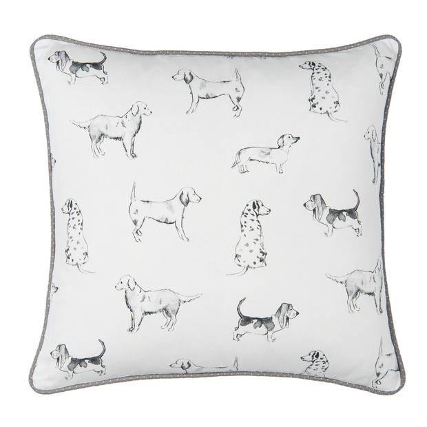 Clayre & Eef - kussenhoes - 50*50 cm - wit - 100% katoen - vierkant - honden - DOL30