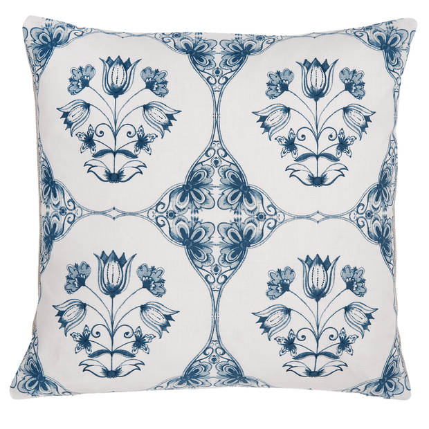 Clayre & Eef - kussenhoes - 40*40 cm - blauw - 100% katoen - vierkant - bloemen - CHA21
