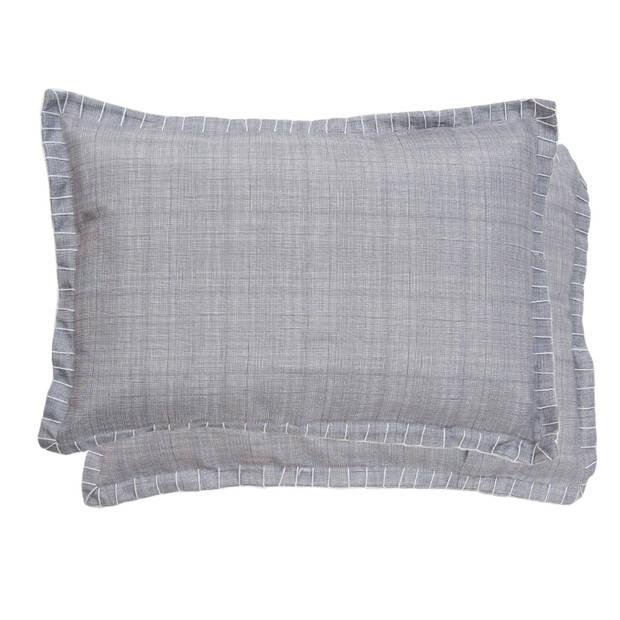 Clayre & Eef - kussenhoes - 35*50 cm - grijs - polyester / linnen - rechthoekig - KT036.037W