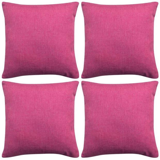 vidaXL Kussenhoezen 4 stuks linnen look roze 80x80 cm
