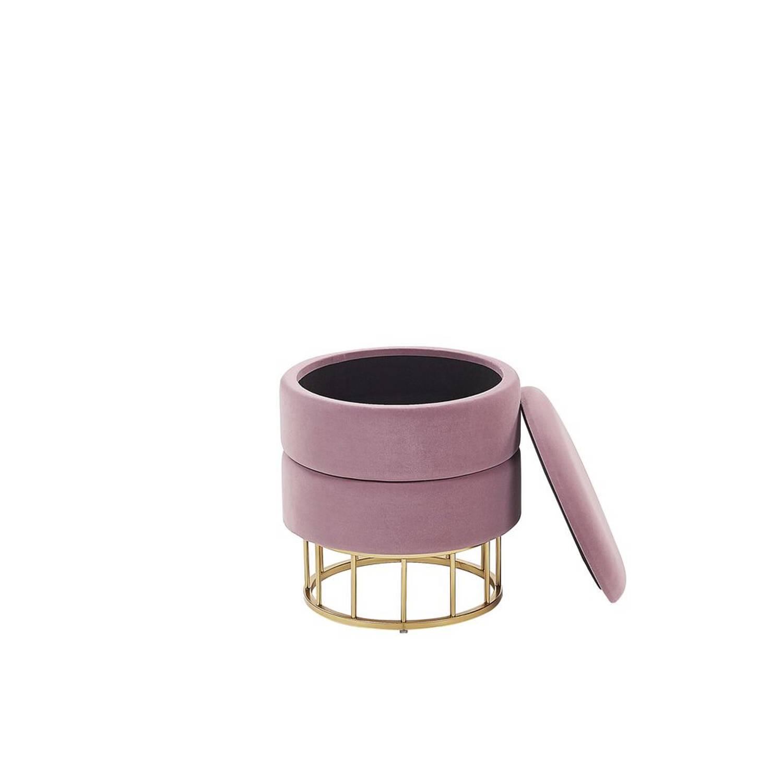 Korting Beliani Elgin Poef roze fluweel