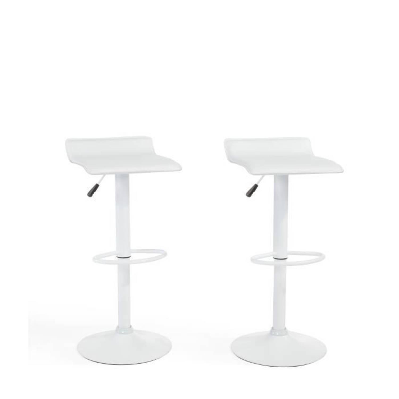 MATEO Set van 2 barkrukken in metaal Witte faux-afwerking Modern L38,5x D39 cm