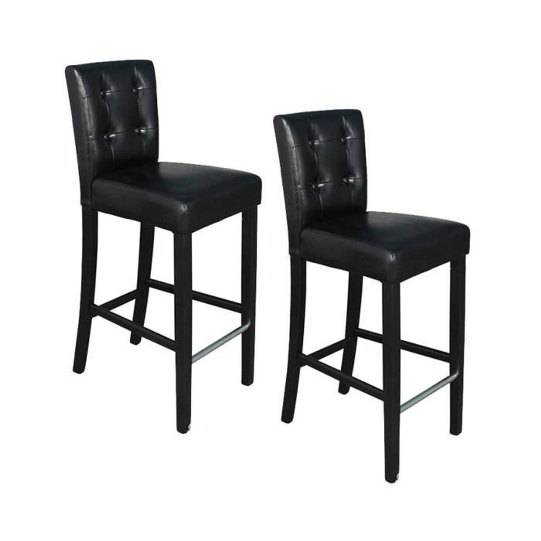 ELVIS Set van 2 barkrukken Zwarte faux knoppen Modern B 39 x D 49,5 cm