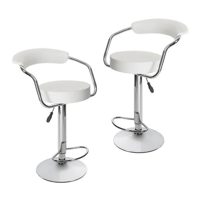 CHARLY Set van 2 barkrukken Witte imitatie Modern H 64 83 cm