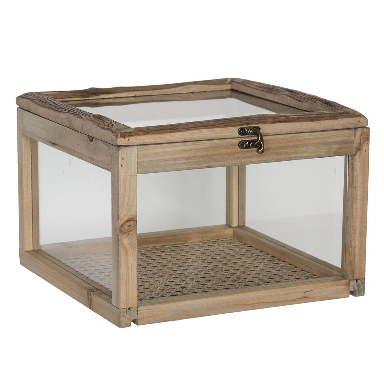 Kistje van hout met glas 30*30*21 cm Bruin Hout Vierkant