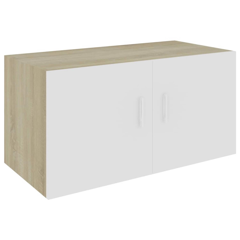 vidaXL Hangkast 80x39x40 cm spaanplaat wit en sonoma eikenkleurig