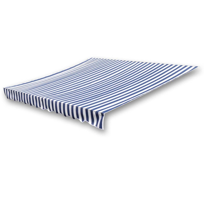 vidaXL Luifeldoek 4x3 m canvas blauw en wit