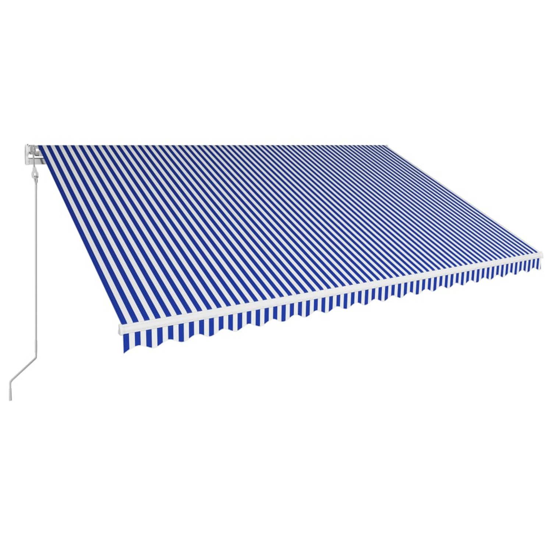Vidaxl Luifel Automatisch Uittrekbaar 500x300 Cm Blauw En Wit