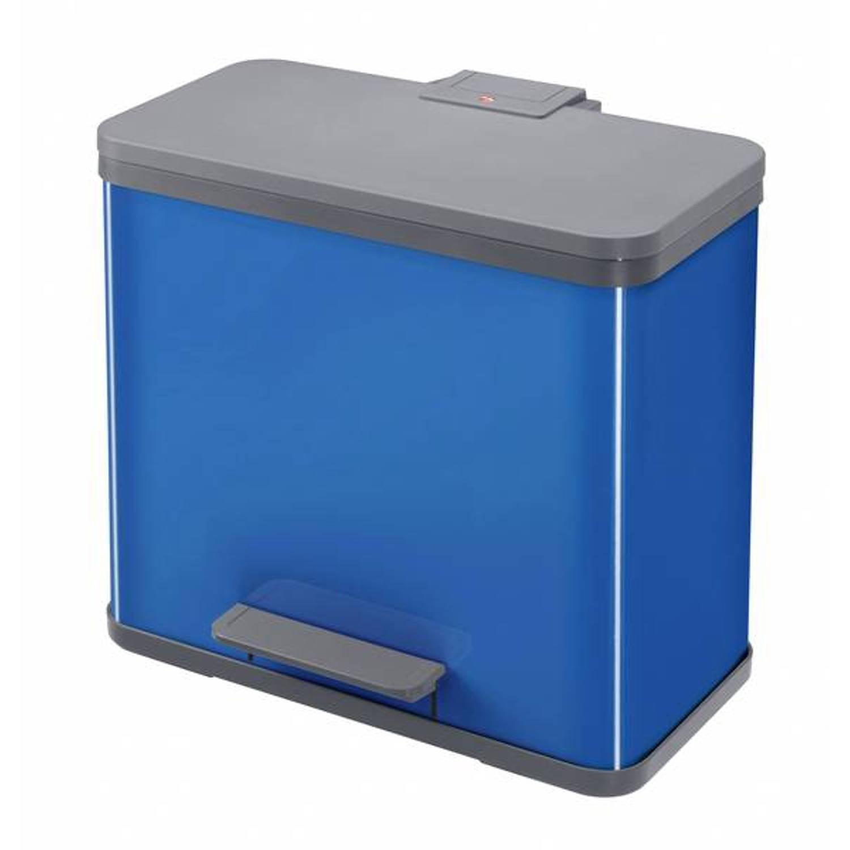 Hailo afvalscheidingsbak trio 27 liter - pedaalemmer afvalbak voor afvalscheiding - sorteren 3 x 9 l