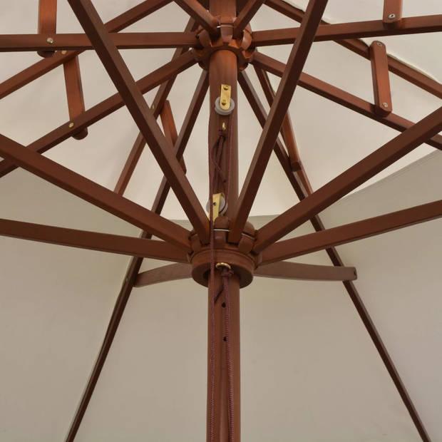 vidaXl Dubbeldekker parasol 270x270 cm houten paal crèmewit