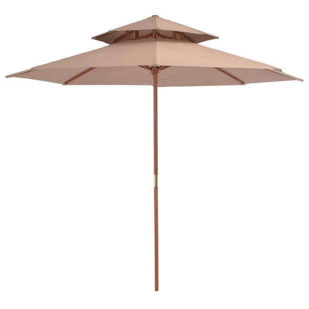 vidaXl Dubbeldekker parasol met houten paal 270 cm taupe