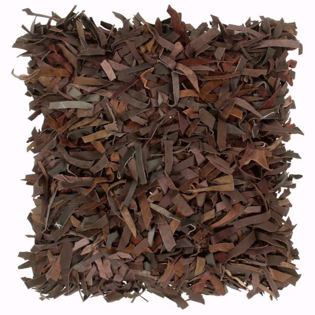 vidaXL Kussens 2 st shaggy hoogpolig 45x45 cm leer en katoen bruin