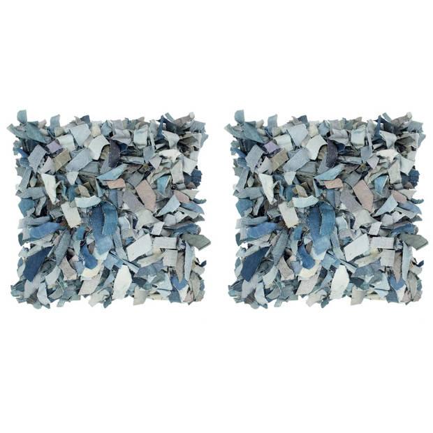 vidaXL Kussens 2 st denim shaggy hoogpolig 45x45 cm leer katoen blauw