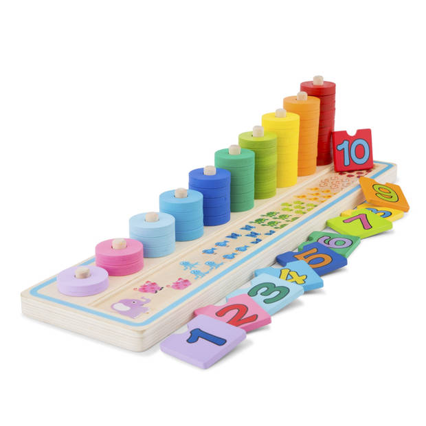 New Classic Toys spel leren tellen junior 43 cm hout 66-delig