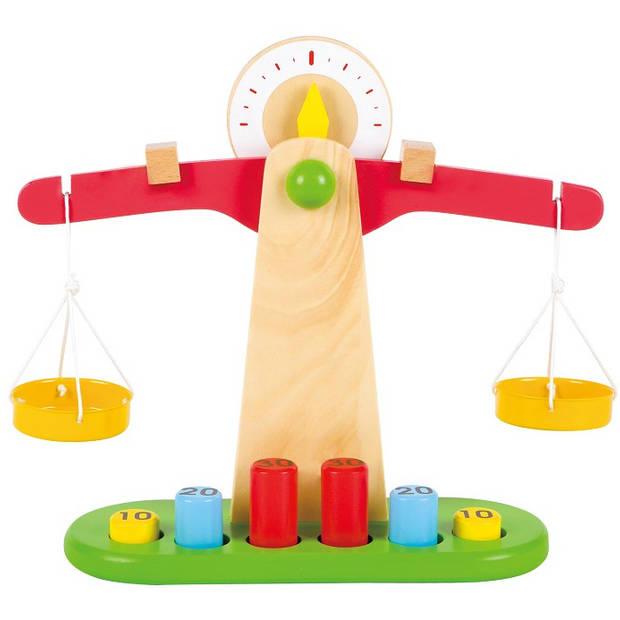 Lelin Toys weegschaal junior 30 x 26,8 cm hout 11-delig