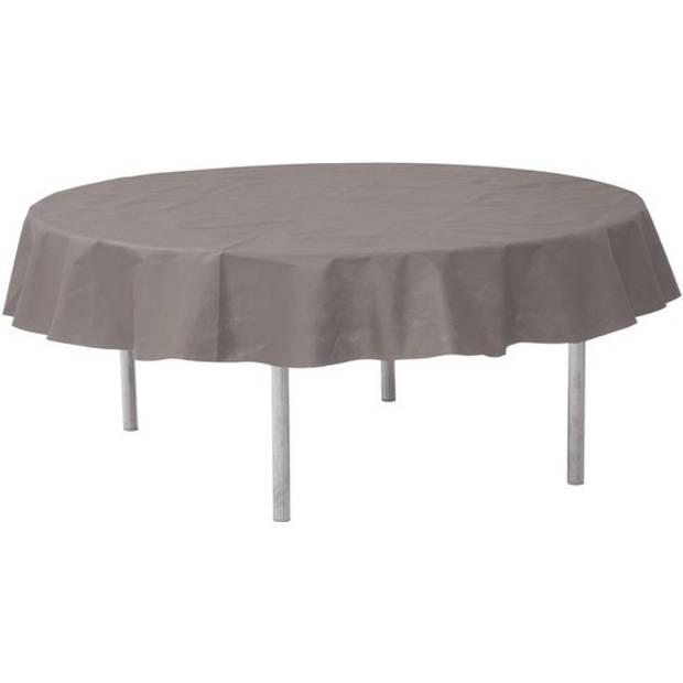 Grijs rond tafelkleed/tafellaken 240 cm stof - Ronde tafelkleden Opaque Grey - Grijze tafeldecoraties - Grijs thema