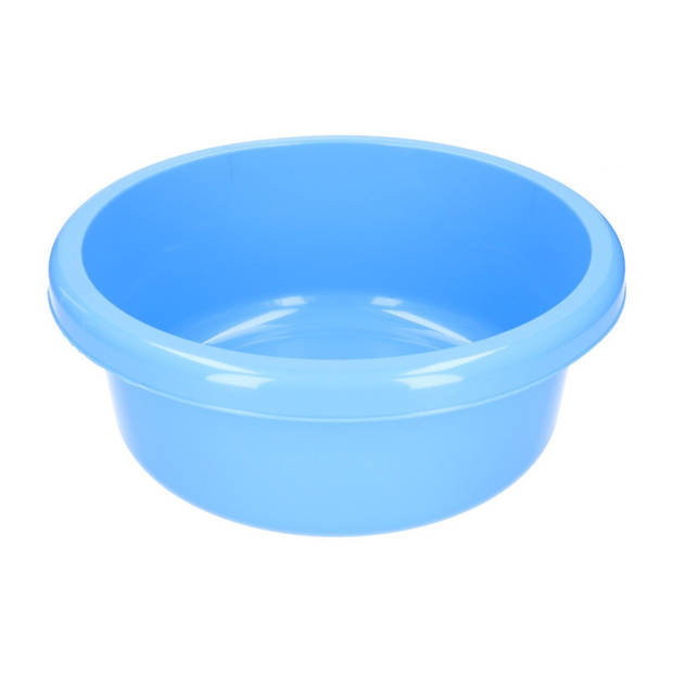 Rond afwasteiltje / afwasbak - 6,2 liter - blauw - Kunststof afwasteil / handwas camping