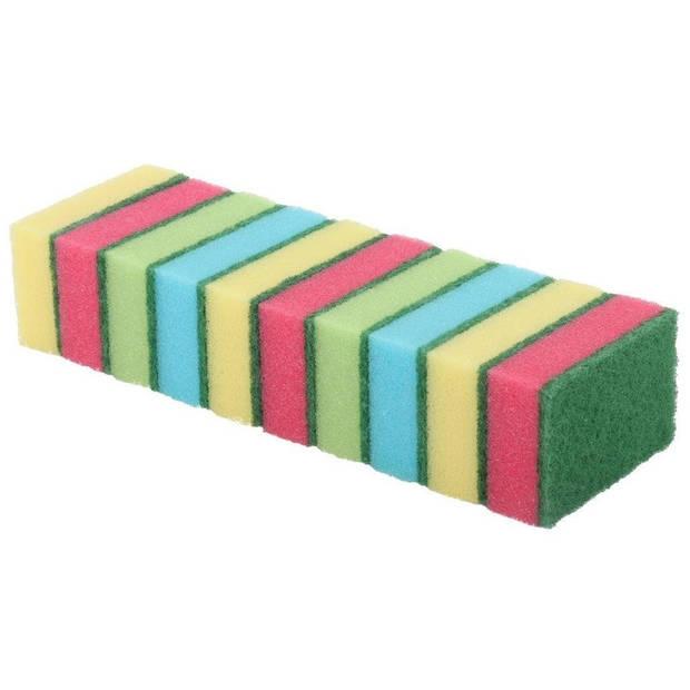 10x Schuursponsjes/schoonmaaksponsjes 9 cm - Huishoud/schoonmaakproducten - Afwassen/schoonmaken sponzen