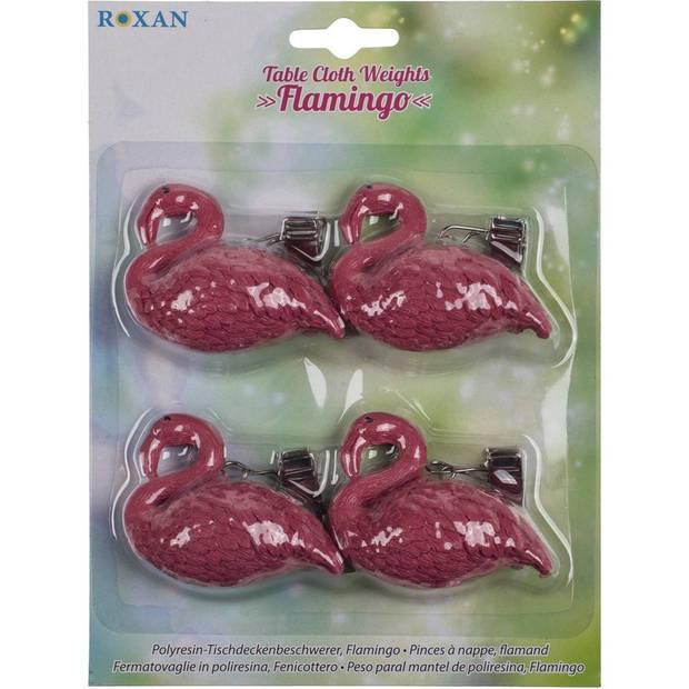 8x Tafelkleed gewichtjes flamingos thema 6 cm - tafelkleden op zijn plek houden gewichtjes met klemmen