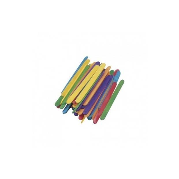 288x gekleurde ijsstokjes knutselhoutjes 11 x 1,1 cm - hobby knutsel houtjes artikelen