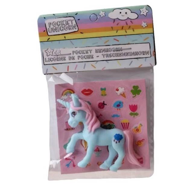 LG-Imports eenhoorn Pocket Unicorn meisjes 7 cm blauw/wolkje 2-delig