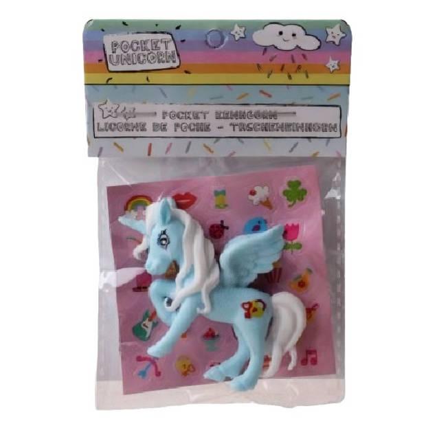 LG-Imports eenhoorn Pocket Unicorn meisjes 7 cm blauw/vleugels 2-delig