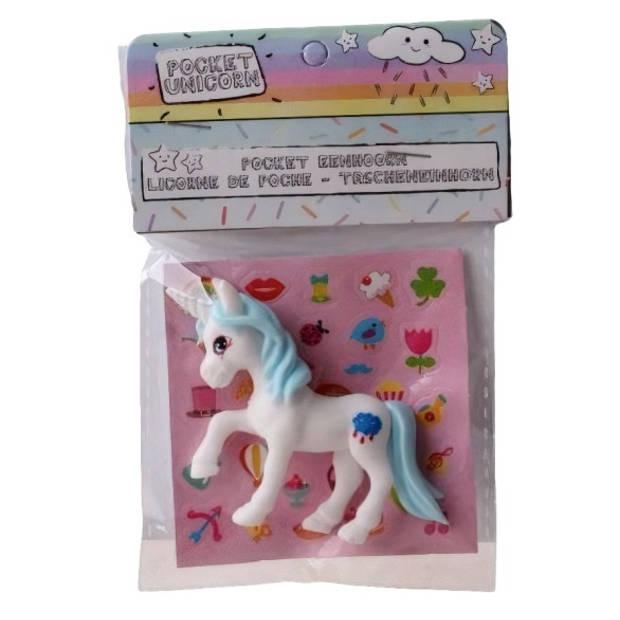 LG-Imports eenhoorn Pocket Unicorn meisjes 7 cm wit/wolkje 2-delig