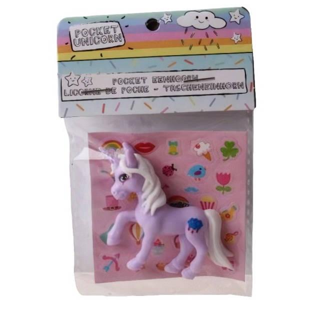 LG-Imports eenhoorn Pocket Unicorn meisjes 7 cm paars/wolkje 2-delig