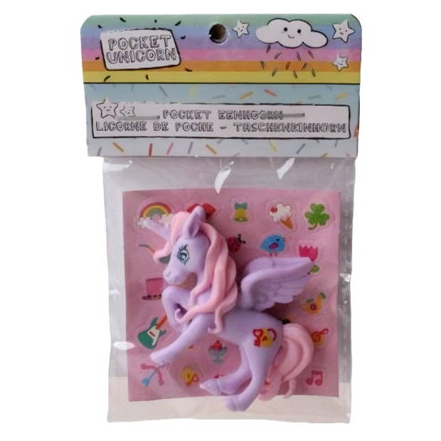 LG-Imports eenhoorn Pocket Unicorn meisjes 7 cm paars/vleugel 2-delig