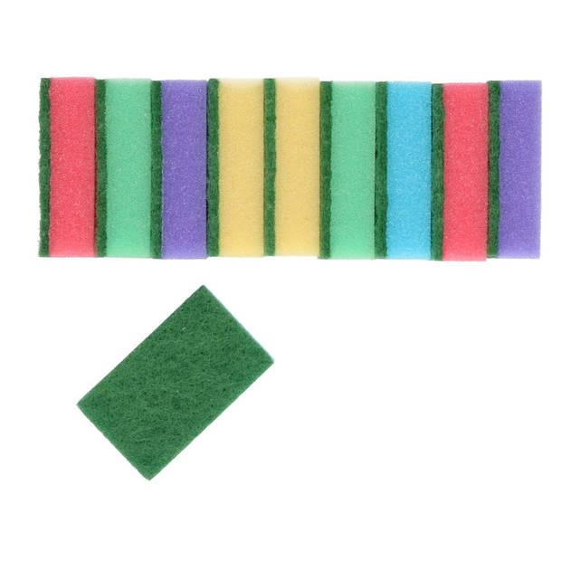 10x Schuursponsjes/schoonmaaksponsjes 8 cm - Huishoud/schoonmaakproducten - Afwassen/schoonmaken sponzen/sponsen