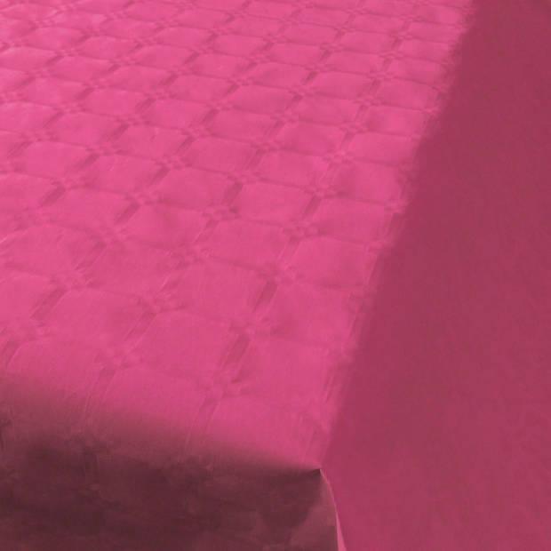 Donkerroze papieren tafellaken/tafelkleed 800 x 118 cm op rol - Roze thema tafeldecoratie versieringen