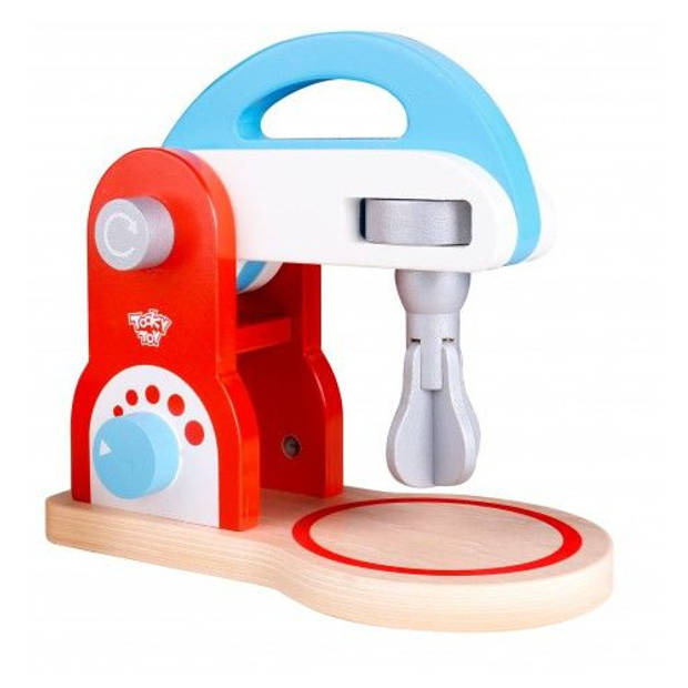 Tooky Toy mixer junior 20 cm hout rood/blauw 2-delig