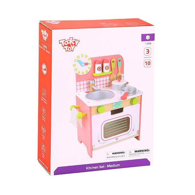 Tooky Toy speelgoedkeuken meisjes 34 x 43 cm hout roze 10-delig