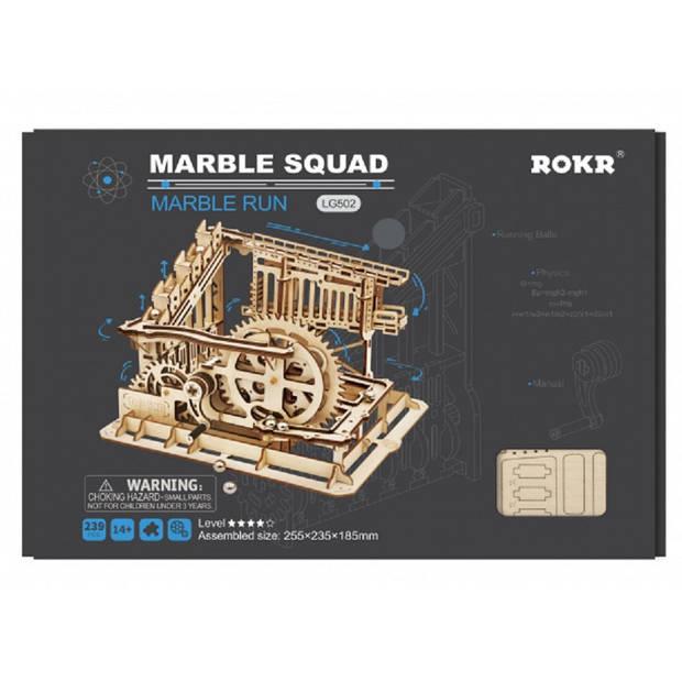 Robotime bouwset knikkerbaan Marble Squad hout bruin 239-delig