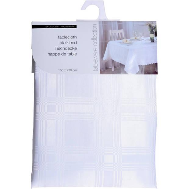 Wit tafelkleed/tafellaken van stof 150 x 220 cm - Rechthoekig - Tafelkleed tafeldecoratie - Tafel dekken voor diner