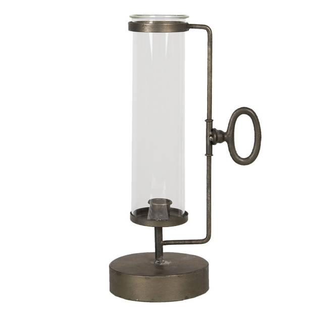 Clayre & Eef Kandelaar 19*12*33 cm Koperkleurig Metaal / glas