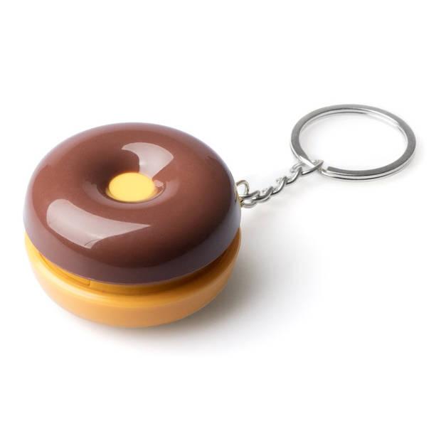 Balvi sleutelhanger-pillendoos Donut 4,8 cm ABS bruin