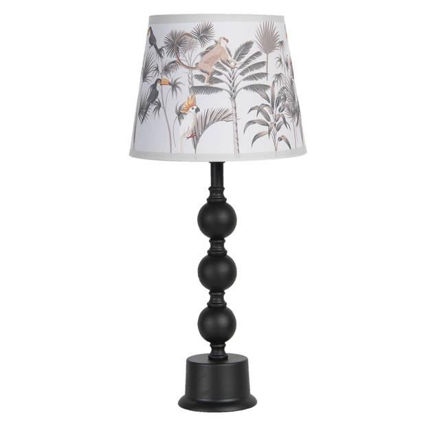 Tafellamp - Ø 22*49 cm e27/max 1*60w - zwart - keramiek - rond - blaadjes - Clayre & Eef - 6LMC0024