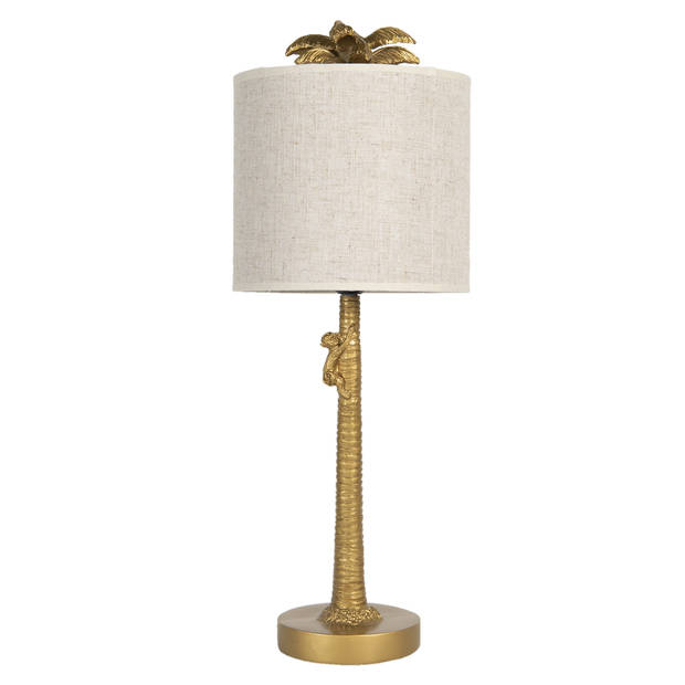 Tafellamp - Ø 20*53 cm e27/max 1*60w - beige - polyresin - rond - palmboom - Clayre & Eef - 6LMC0010