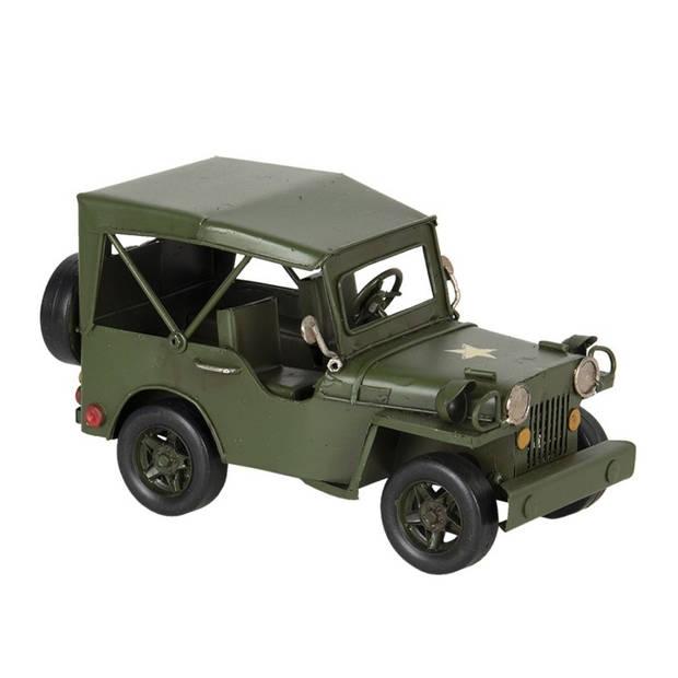 Model jeep - 17*9*10 cm - groen - metaal - Clayre & Eef - 6Y3824